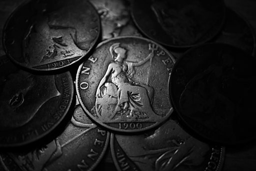 Old penny BW