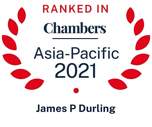 James Durling is ranked for International Trade in Chambers Asia Pacific 2021